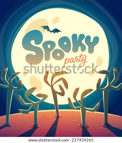 Zombie arms. Halloween poster \ background \ card. Vector illustration. - stock vector