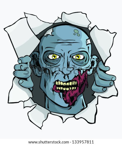 Zombie Attack! T-Shirt/Wall Design - stock vector