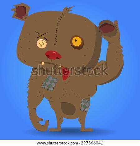 zombie bear.vector character design element - stock vector