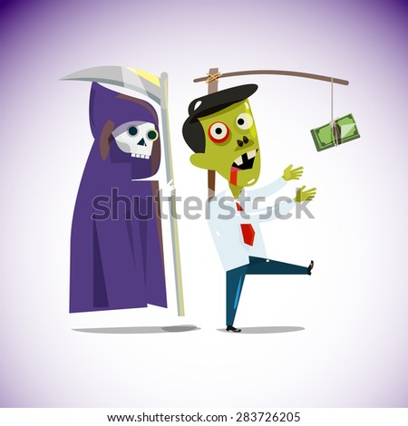 zombie businessman chasing a money hanging from a stick with grim reaper behind . trying to reach money and die. working hard for money and unhealthy concept - vector illustration - stock vector