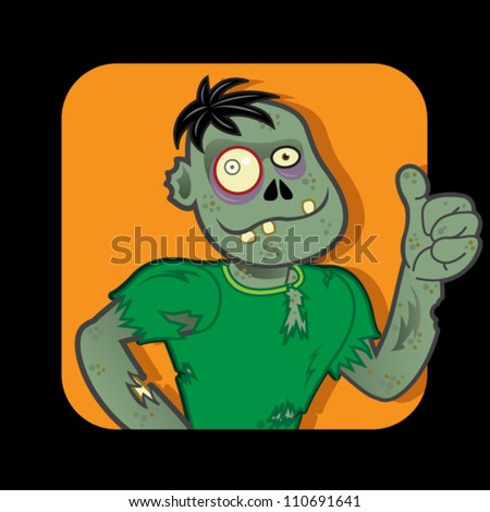 Zombie Character approving with Thumb up - stock vector