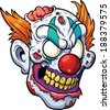 Zombie clown head. Vector clip art illustration with simple gradients. All in a single layer.  - stock