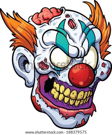 Zombie clown head. Vector clip art illustration with simple gradients. All in a single layer.  - stock vector