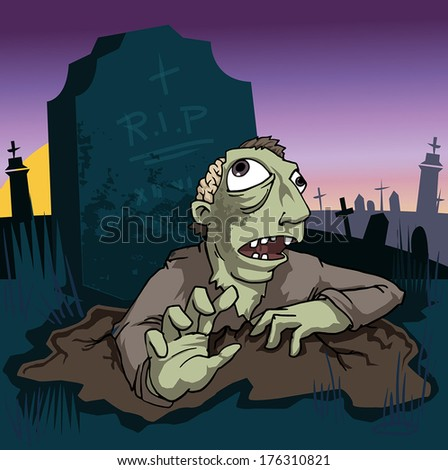 Zombie coming out of the grave, vector illustration - stock vector