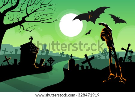 Zombie Dead Skeleton Hand From Ground Vampire Bat Halloween Banner Cemetery River Graveyard Card Vector Illustration - stock vector