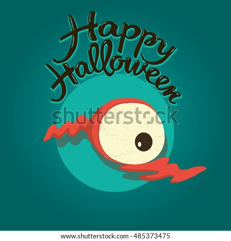 Zombie eye Happy Halloween illustration