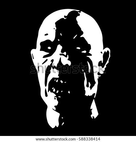 Zombie face in black and white colors apocalypse demon from hell horror picture to