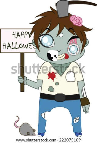 Zombie Halloween monster mascot - stock vector