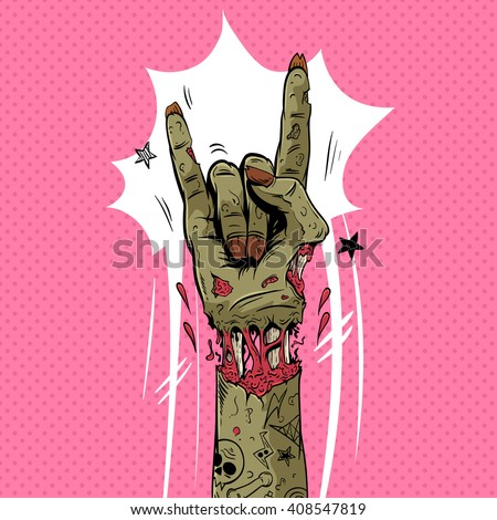 Zombie hand shows rock gesture, hand drawn vector illustration - stock vector