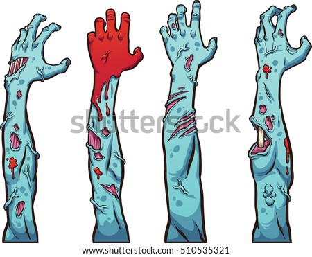 Zombie hands and arms. Vector clip art illustration with simple gradients. Each on a separate layer.