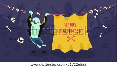 Zombie hanging on barbed wire with space for text. Funny character on night background. Vector colorful illustration - stock vector