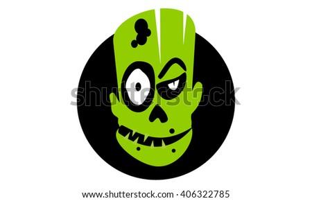 Zombie Head - stock vector