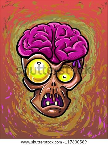 Zombie head. Halloween poster - stock vector