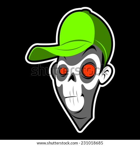 zombie head in a cap on a black background - stock vector