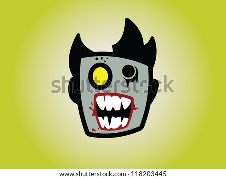 Zombie Head with Spiked Hair. - stock vector