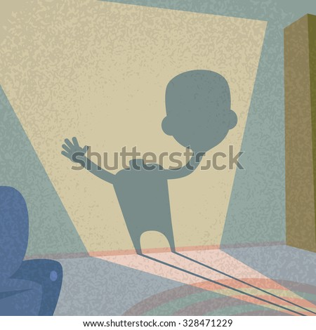 Zombie Headless Hold Head in Hand Shadow Silhouette Retro Shape Flat Vector Illustration - stock vector