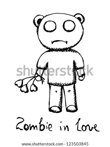 Zombie in love, funny sketch cartoon card