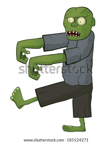 Zombie on white background - stock vector
