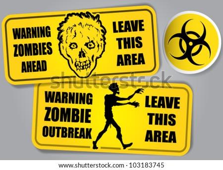 Zombie Outbreak Biohazard warning stickers / labels - stock vector