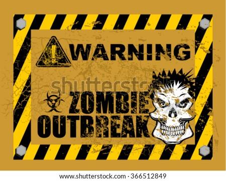zombie outbreak, sign - stock vector