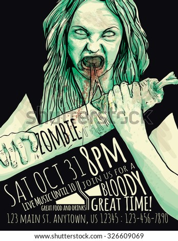 Zombie Party Flyer with Illustration of female zombie girl - stock vector