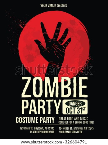 Zombie Party Flyer with Illustration of Zombie Hand in Blood Moon  - stock vector