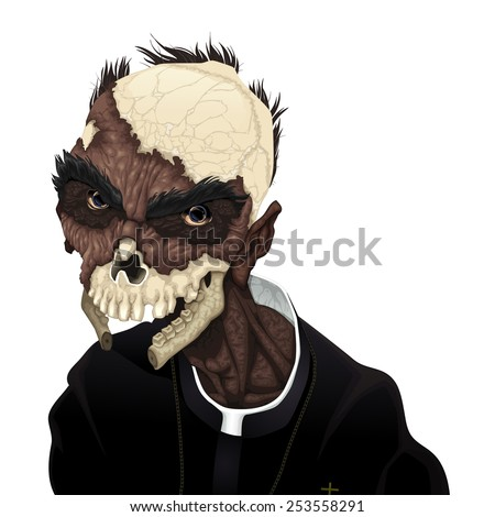 Zombie portrait. Horror and vector illustration, isolated character.