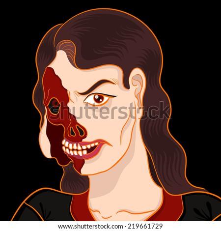 zombie portrait on black background for halloween - stock vector
