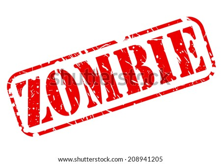 Zombie red stamp text on white - stock vector