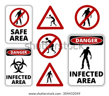 Zombie  Restricted Apocalypse Signs, Symbols and Billboards Vector eps8  - stock vector