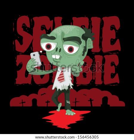 Zombie salaryman acting selfie by smartphone - stock vector