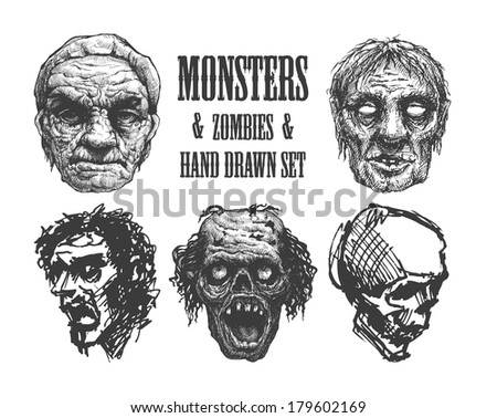 Zombie set. Hand drawn. Vector Eps 8 - stock vector