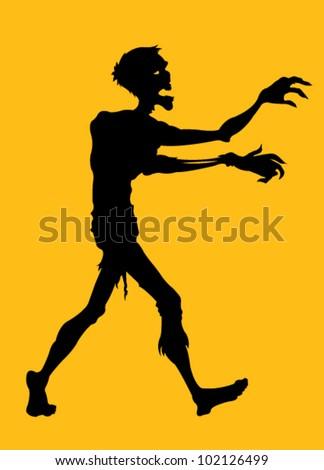 Zombie Silhouette - stock vector