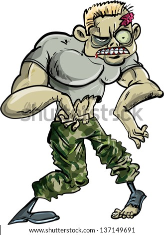 Zombie soldier with a head wound in his ragged army uniform standing facing the camera, cartoon illustration isolated on white  - stock vector