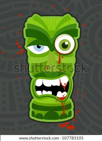 Zombie undead tiki totem vector illustration design - stock vector