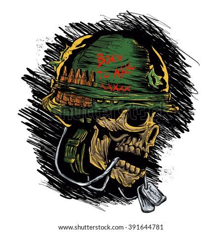 zombie with military helmet - stock vector