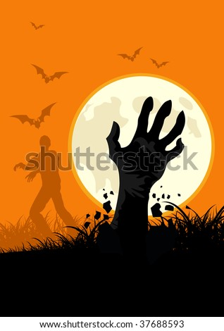 Zombies everywhere! Get into the spirit of halloween with this zombie themed vector. - stock vector