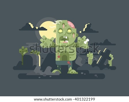 Zombies in cemetery night - stock vector
