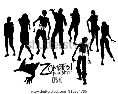 Zombies invasion. Zombie silhouettes walking forward. Halloween design elements isolated on white background - stock vector