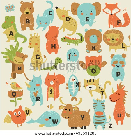 Zoo alphabet with cute animals in cartoon style.  - stock vector