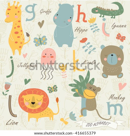 Zoo alphabet with cute animals in cartoon style. g, h, i, j, k, l, m  letters. Giraffe, hippo, iguana, jelly-fish, koala, lion, monkey. - stock vector