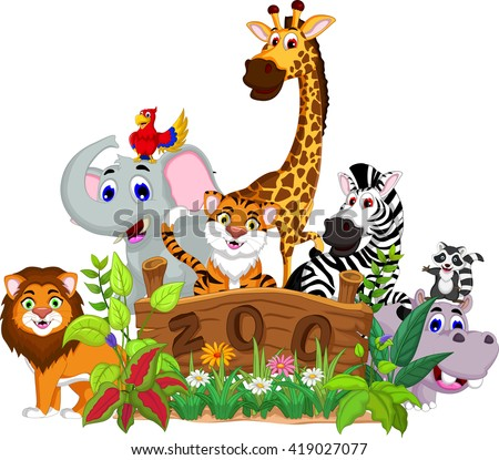 Zoo Animal Cartoon Stock Vector 419027077