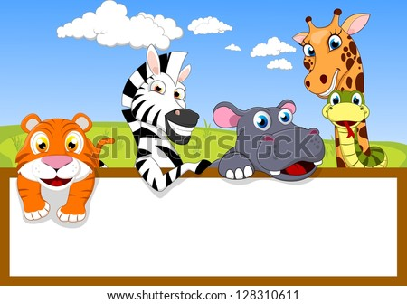 Zoo Animal Cartoon With Blank sign - stock vector