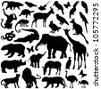 Zoo animals collection - vector silhouette - stock photo