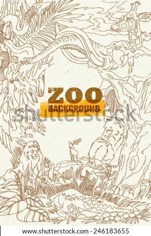 Zoo Animals Creative Handmade Vector Composition - stock vector