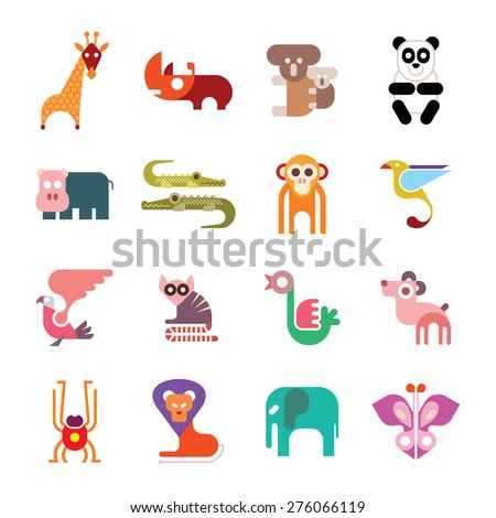 Zoo Animals. Set of colorful vector icons. Isolated on white background.  - stock vector