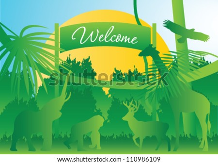 Zoo background - stock vector