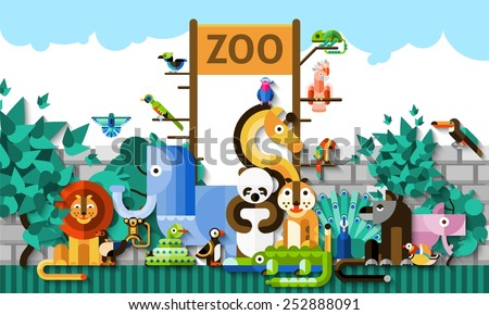 Zoo background with colorful paper african jungle animals and birds vector illustration - stock vector