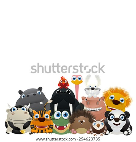 Zoo card, cute animal characters over a white background - stock vector