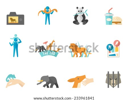 Zoo icons in flat colors style. - stock vector